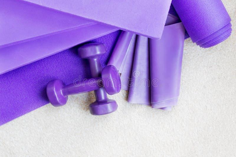 Στηρίγματα εξοπλισμού γιόγκας ικανότητας pilates στον τάπητα στοκ φωτογραφία με δικαίωμα ελεύθερης χρήσης
