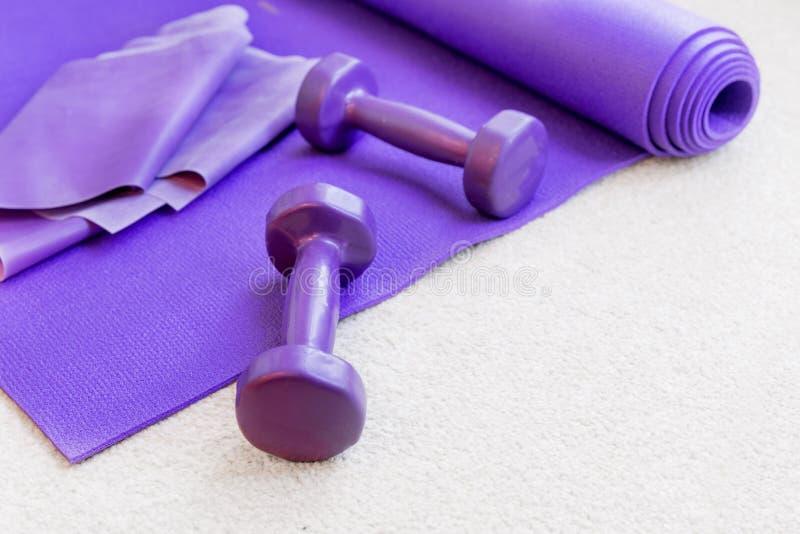 Στηρίγματα εξοπλισμού γιόγκας ικανότητας pilates στον τάπητα στοκ εικόνες με δικαίωμα ελεύθερης χρήσης