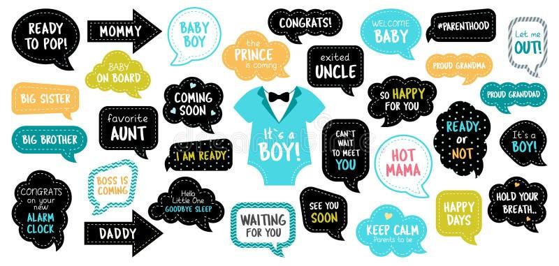 Στηρίγματα θαλάμων φωτογραφιών ντους μωρών photobooth καθορισμένα ελεύθερη απεικόνιση δικαιώματος