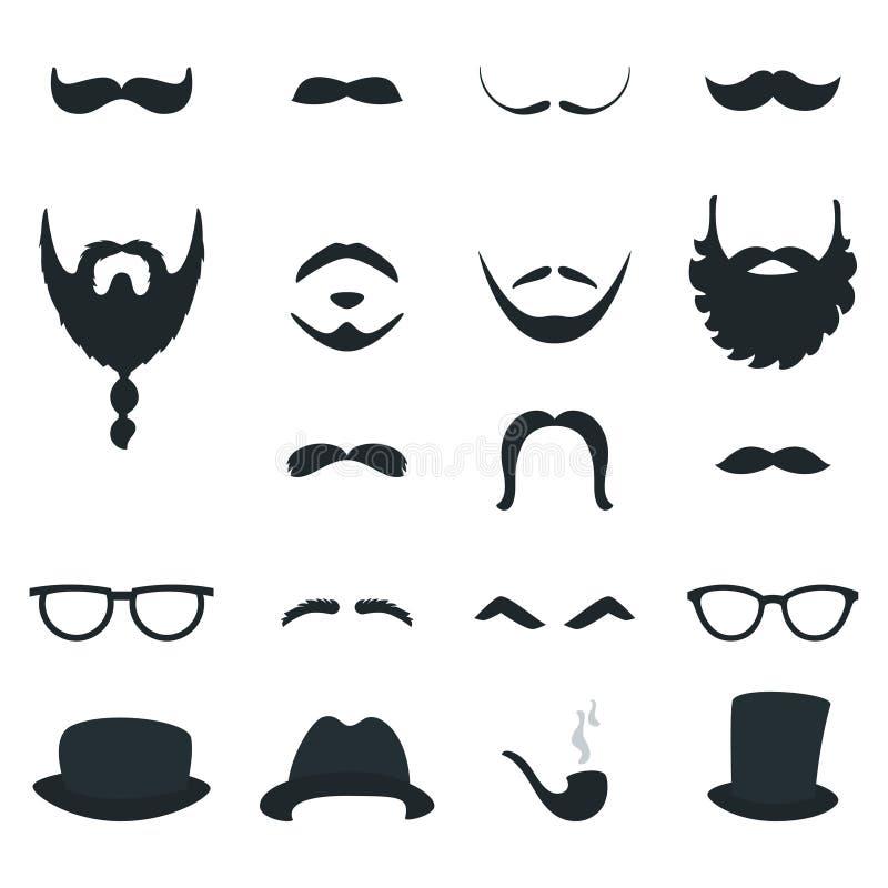 Στηρίγματα μορφών γενειάδων και Moustache ατόμων eps σχεδίου 10 ανασκόπησης διάνυσμα τεχνολογίας διανυσματική απεικόνιση