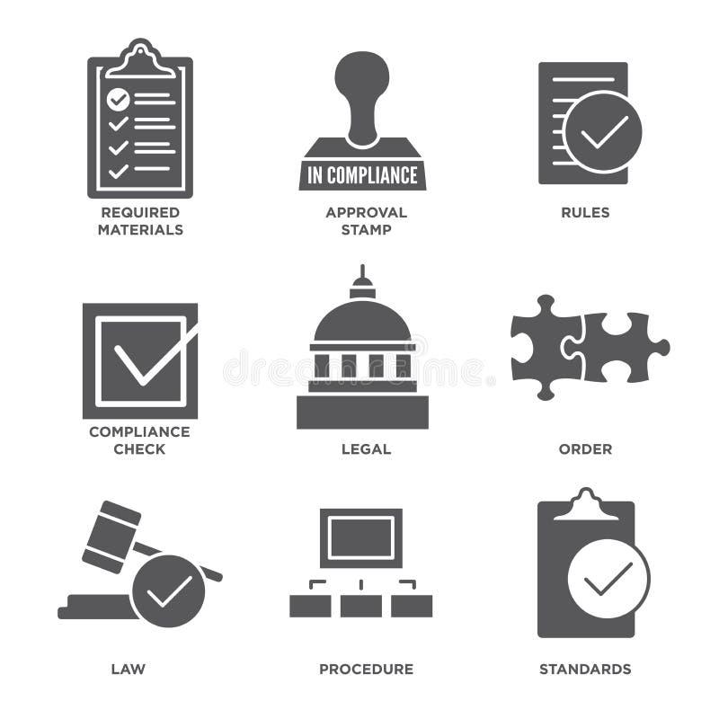 Στη συμμόρφωση - το εικονίδιο καθορισμένο που παρουσιάζει επιχείρηση πέρασε την επιθεώρηση ελεύθερη απεικόνιση δικαιώματος