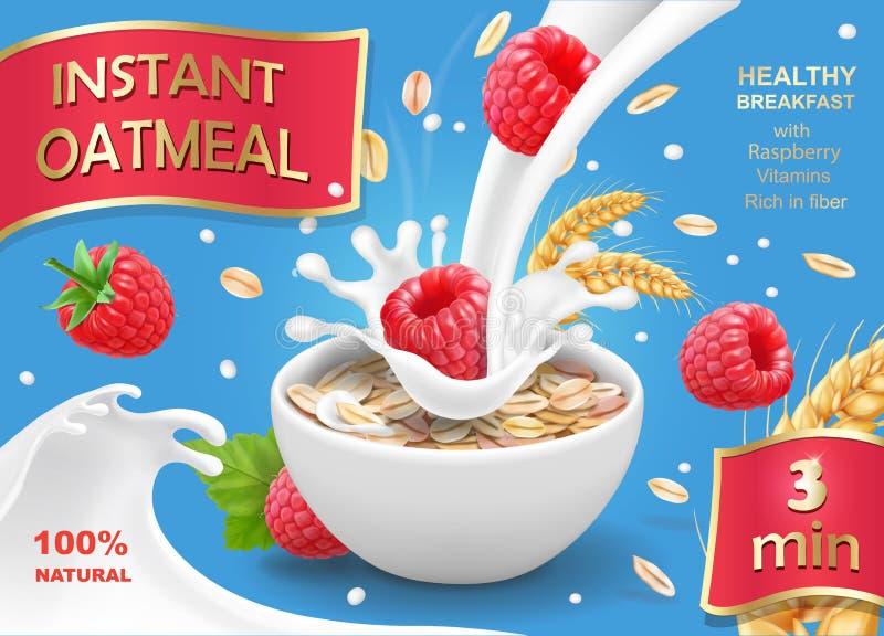 Στιγμιαίες νιφάδες βρωμών oatmeals με το σμέουρο Διαφήμιση ροής Oatflakes και γάλακτος απεικόνιση αποθεμάτων