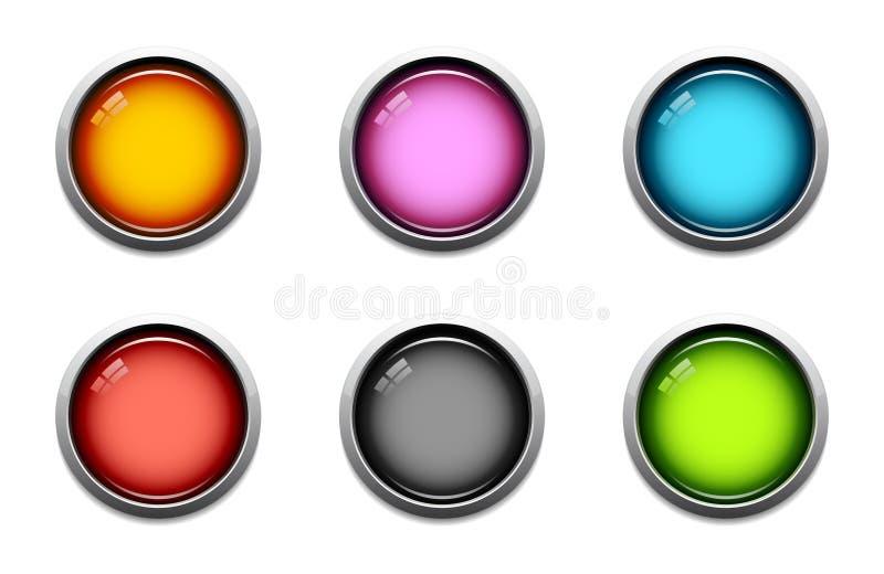 στιλπνά εικονίδια κουμπιών ελεύθερη απεικόνιση δικαιώματος
