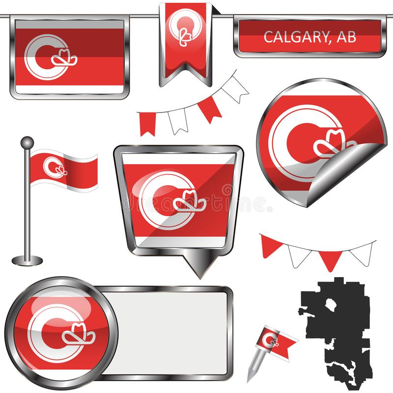 Στιλπνά εικονίδια με τη σημαία του Κάλγκαρι, Αλμπέρτα απεικόνιση αποθεμάτων