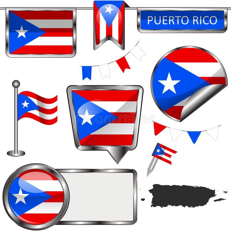Στιλπνά εικονίδια με τη σημαία του Πουέρτο Ρίκο διανυσματική απεικόνιση
