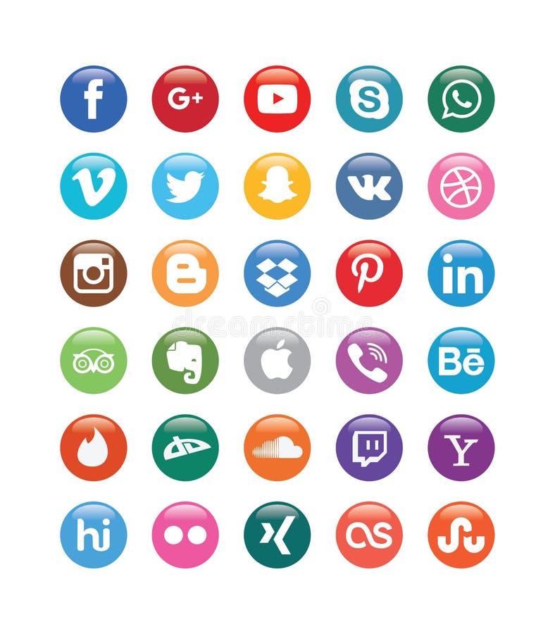 Στιλπνά κουμπιά μέσων χρώματος κοινωνικά για τα κοινωνικά μέσα διανυσματική απεικόνιση