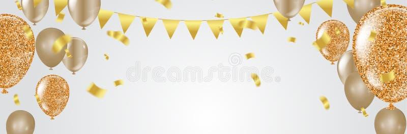 Στιλπνά μπαλόνια Χρυσά διακοσμητικά στοιχεία χρωμάτων για το σχέδιο πρόσκλησης κομμάτων με το διάστημα αντιγράφων επίσης corel σύ απεικόνιση αποθεμάτων