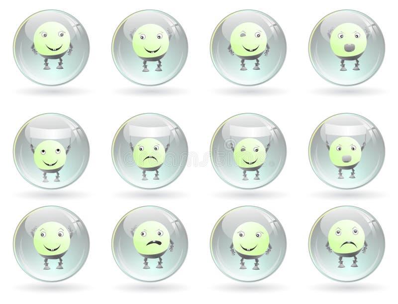 στιλπνά smileys συγκινήσεων σφ&alph απεικόνιση αποθεμάτων