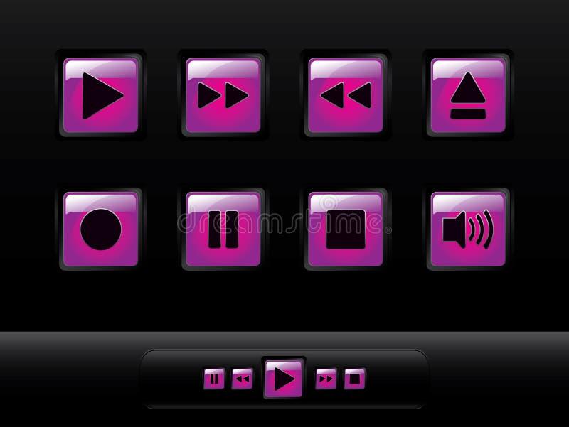 στιλπνή μουσική κουμπιών διανυσματική απεικόνιση