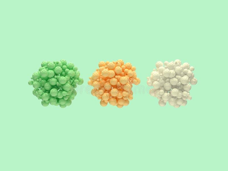 Στιλπνή ομάδα τρία σφαιρών τρισδιάστατη απόδοση χρώματος διανυσματική απεικόνιση