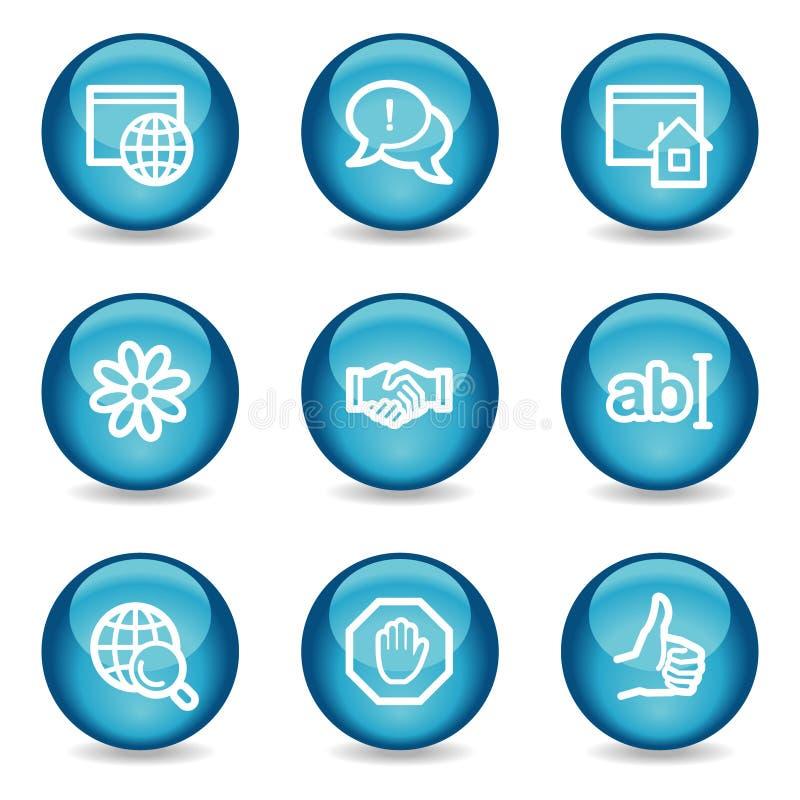 στιλπνός Ιστός σφαιρών Διαδικτύου εικονιδίων επικοινωνίας απεικόνιση αποθεμάτων