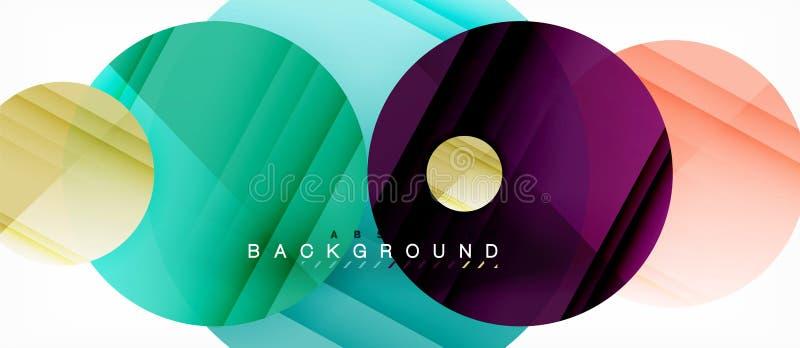 Στιλπνό ζωηρόχρωμο αφηρημένο υπόβαθρο κύκλων, σύγχρονο γεωμετρικό σχέδιο ελεύθερη απεικόνιση δικαιώματος