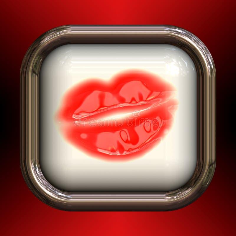 στιλπνό χειλικό κόκκινο κουμπιών απεικόνιση αποθεμάτων