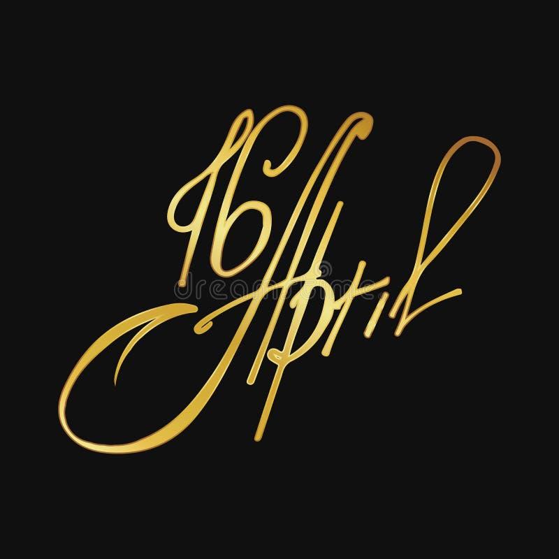 Στις 16 Απριλίου ευχετήριων καρτών, απομονωμένη εγγραφή καλλιγραφίας, ευτυχές Πάσχα, πρότυπο σχεδίου λέξης στοκ φωτογραφία με δικαίωμα ελεύθερης χρήσης