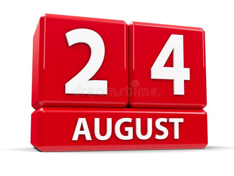 Στις 24 Αυγούστου κύβων ελεύθερη απεικόνιση δικαιώματος