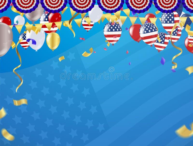 Στις 4 Ιουλίου ημέρας της ανεξαρτησίας Ευτυχής ημέρα της ανεξαρτησίας τέταρτο του του Ιουλίου διανυσματική απεικόνιση