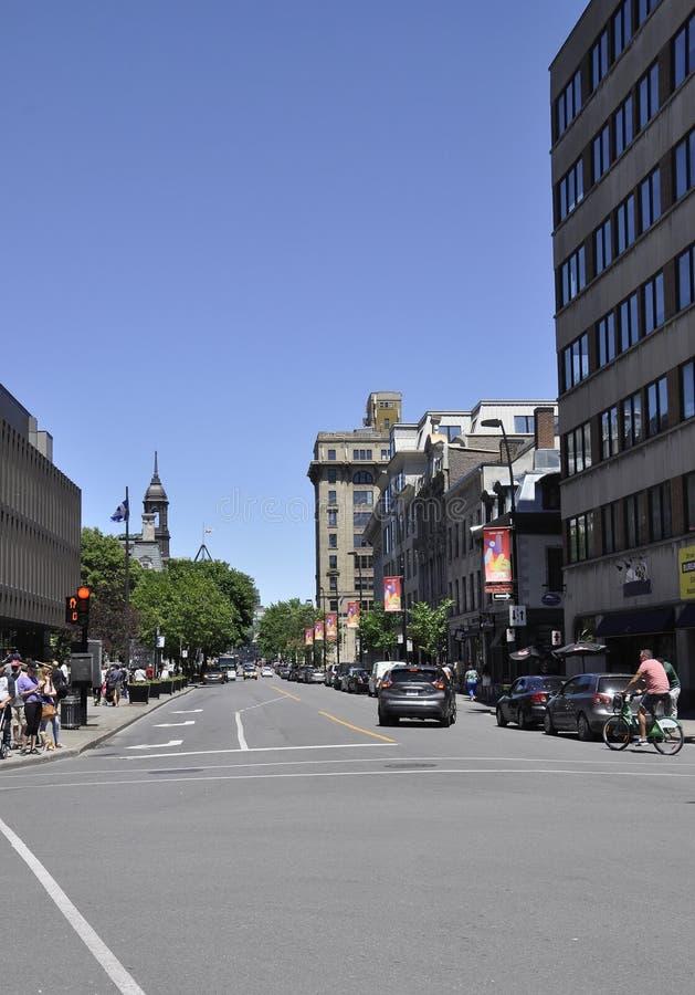 Στις 26 Ιουνίου του Μόντρεαλ: Άποψη οδών από το παλαιό Μόντρεαλ στον Καναδά στοκ εικόνες