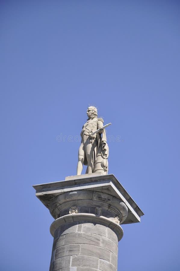 Στις 26 Ιουνίου του Μόντρεαλ: Λεπτομέρειες αγαλμάτων στηλών του Nelson από τη θέση Ζακ Cartier του Μόντρεαλ στον Καναδά στοκ εικόνα