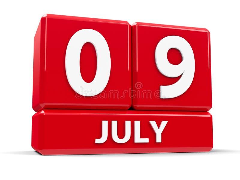 Στις 9 Ιουλίου κύβων ελεύθερη απεικόνιση δικαιώματος