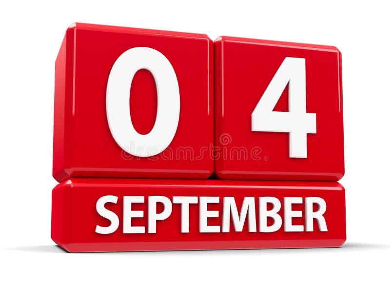 Στις 4 Σεπτεμβρίου κύβων ελεύθερη απεικόνιση δικαιώματος