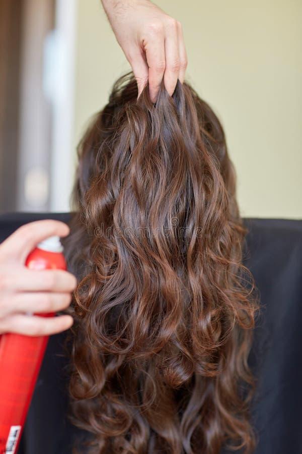 Στιλίστας με τον ψεκασμό τρίχας που κάνει το hairdo στο σαλόνι στοκ φωτογραφία με δικαίωμα ελεύθερης χρήσης