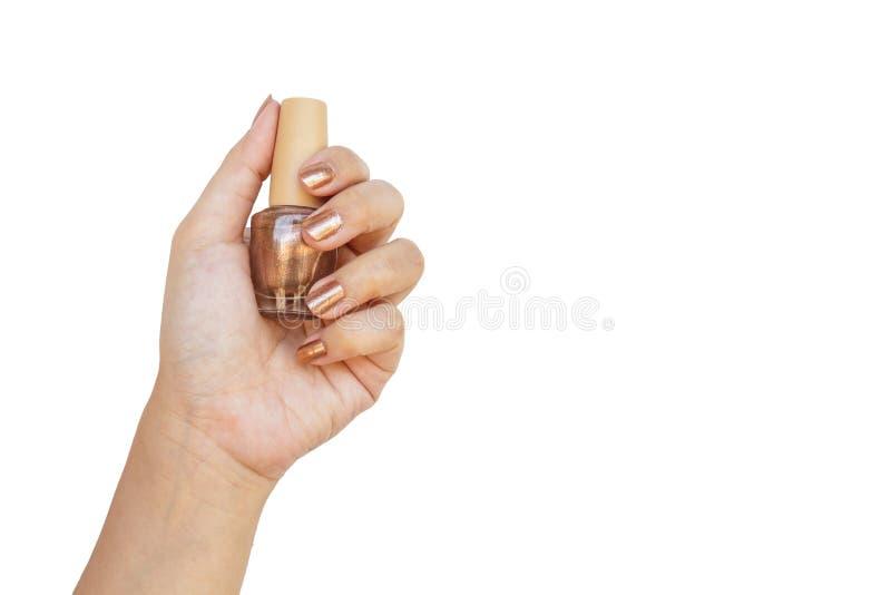 Στιλβωτής καρφιών εκμετάλλευσης χεριών στοκ εικόνες με δικαίωμα ελεύθερης χρήσης
