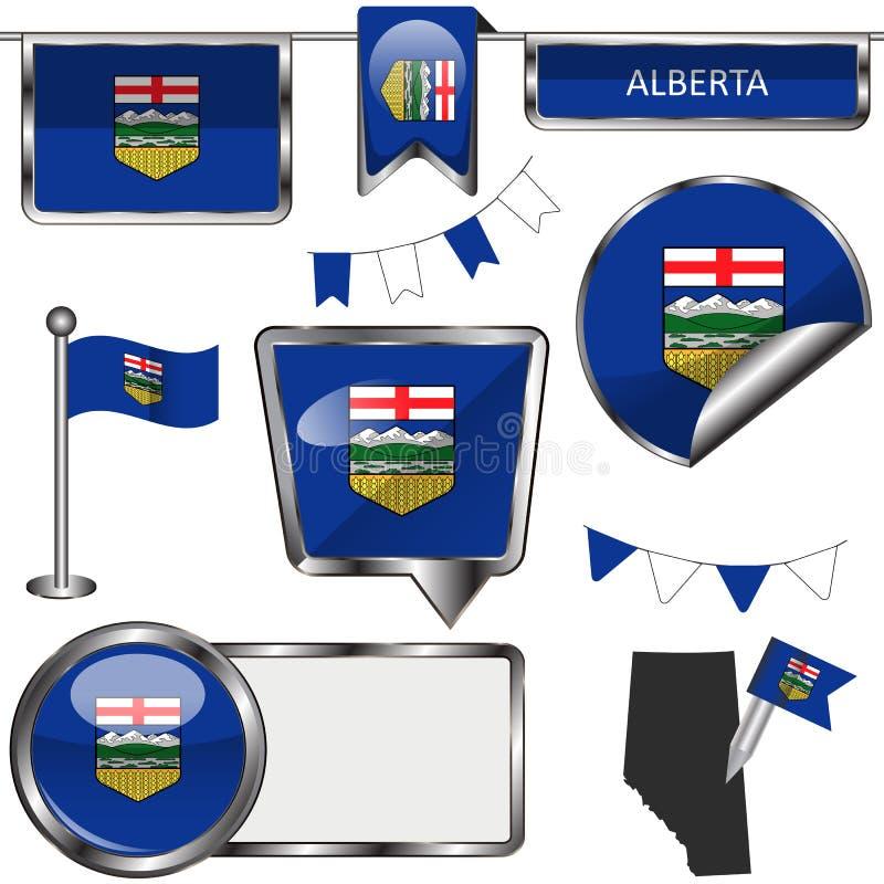 Στιλπνά εικονίδια με τη σημαία της επαρχίας Αλμπέρτα διανυσματική απεικόνιση