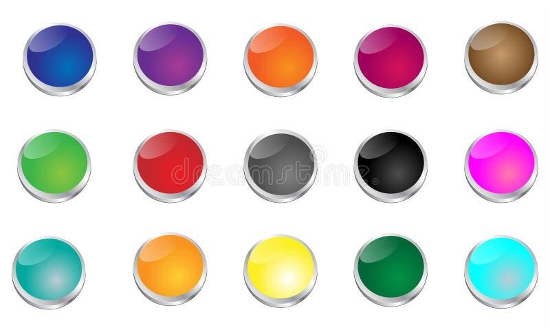 Στιλπνά κουμπιά διατρήσεων διανυσματική απεικόνιση