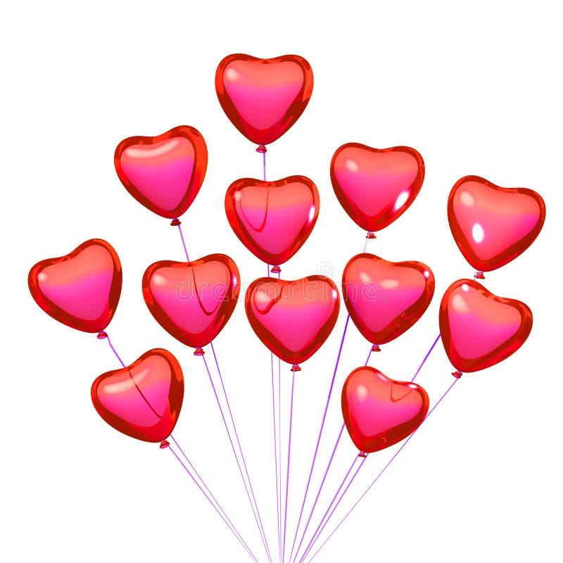Στιλπνά κόκκινα/ρόδινα μπαλόνια μορφής καρδιών για το βαλεντίνο Απομονωμένο ο ελεύθερη απεικόνιση δικαιώματος