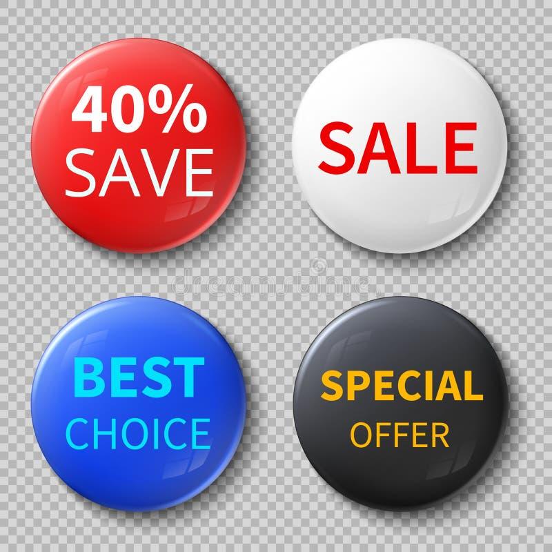 Στιλπνά τρισδιάστατα κουμπιά ή διακριτικά κύκλων πώλησης με τα αποκλειστικά διανυσματικά πρότυπα κειμένων προσφοράς προωθητικά απεικόνιση αποθεμάτων