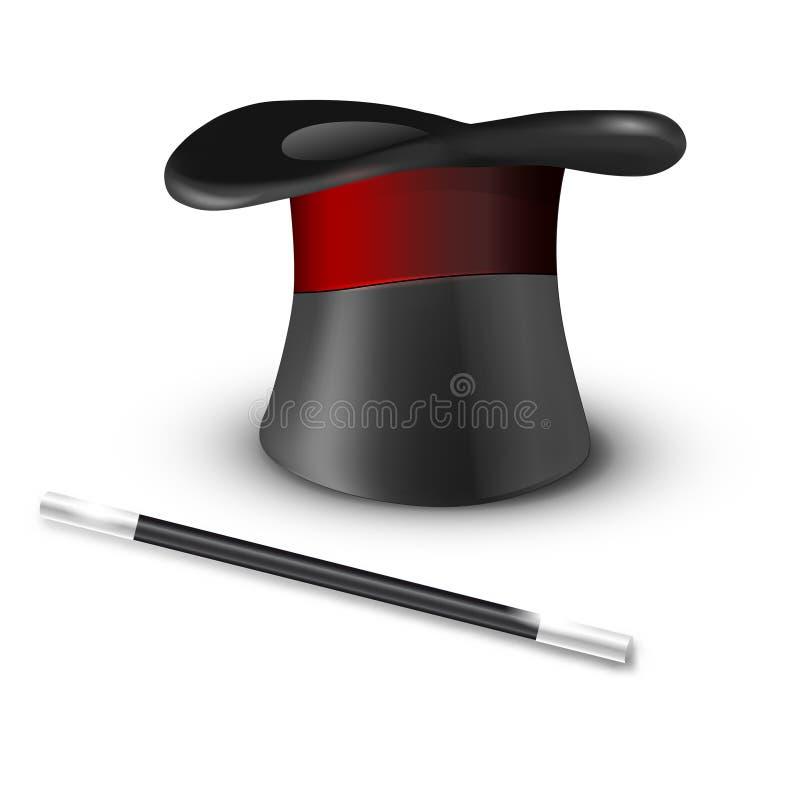 Στιλπνές μαγικές καπέλο και ράβδος στο άσπρο υπόβαθρο απεικόνιση αποθεμάτων