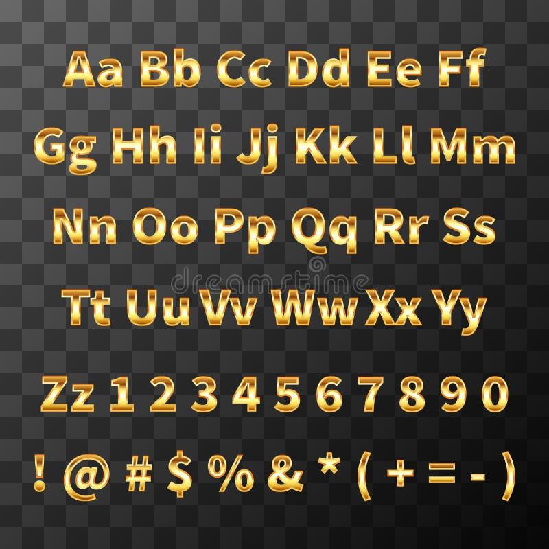 Στιλπνή πηγή μετάλλων Χρυσοί επιστολές και αριθμοί στο διαφανές υπόβαθρο διανυσματική απεικόνιση