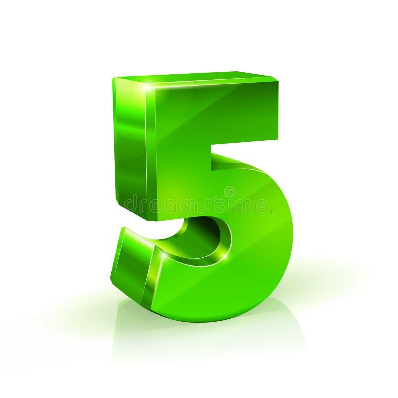 Στιλπνός πράσινος πέντε 5 αριθμός τρισδιάστατο λευκό ενότητας δομών θέματος απεικόνισης στοιχείων ανασκόπησης απεικόνιση αποθεμάτων