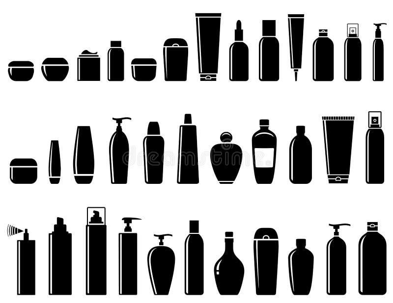Στιλπνό καλλυντικό σύνολο μπουκαλιών απεικόνιση αποθεμάτων