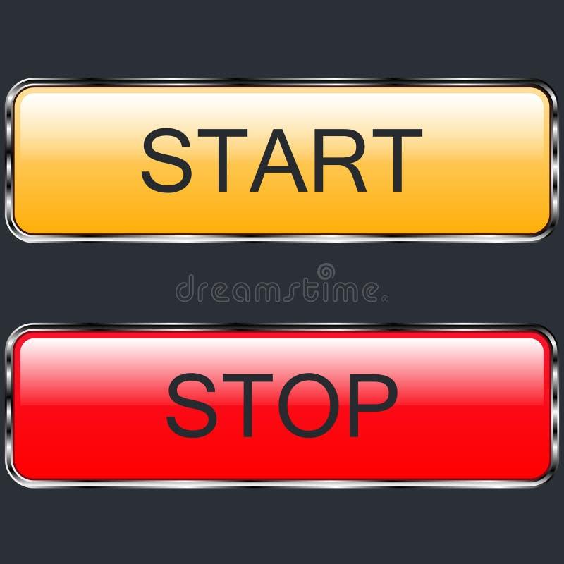 Στιλπνό χρωματισμένο μέταλλο έναρξης και στάσεων κουμπιών διανυσματική απεικόνιση