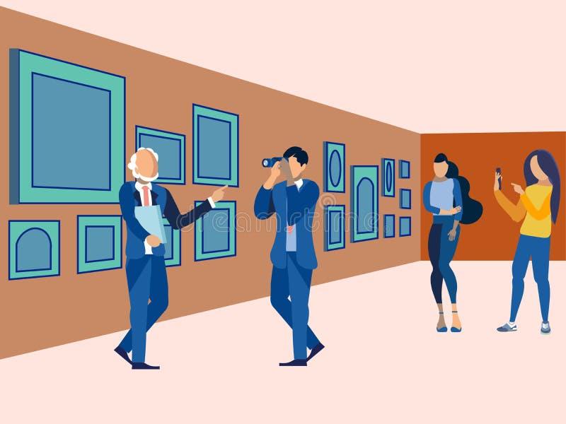 Στοά εικόνων, έκθεση Επισκεφτείτε το Μουσείο Τέχνης Στο μινιμαλιστικό ύφος Επίπεδο isometric ράστερ ελεύθερη απεικόνιση δικαιώματος