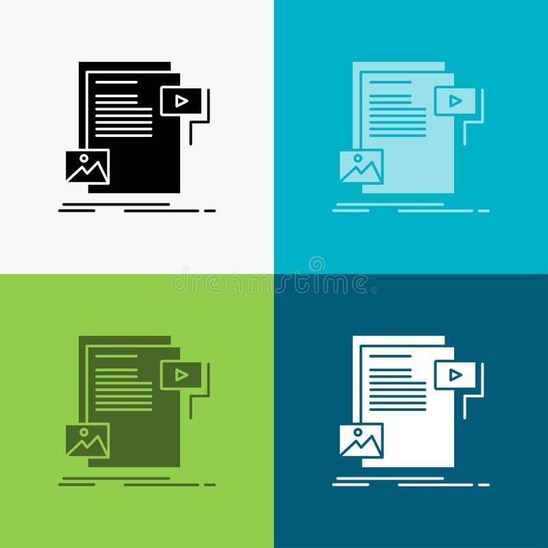 στοιχεία, έγγραφο, αρχείο, μέσα, εικονίδιο ιστοχώρου πέρα από το διάφορο υπόβαθρο glyph σχέδιο ύφους, που σχεδιάζεται για τον Ιστ ελεύθερη απεικόνιση δικαιώματος