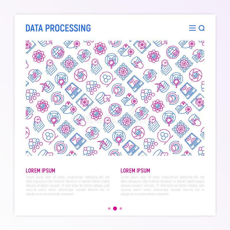 Στοιχεία - έννοια επεξεργασίας με τα λεπτά εικονίδια γραμμών διανυσματική απεικόνιση