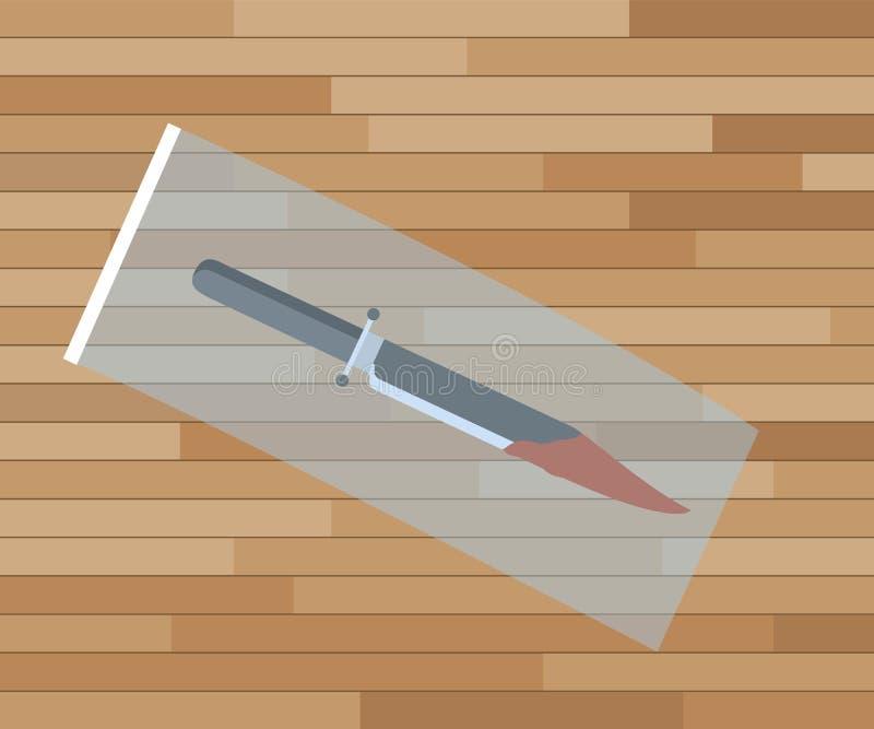 Στοιχεία έρευνας σκηνών εγκλήματος μαχαιριών με τη πλαστική τσάντα διανυσματική απεικόνιση