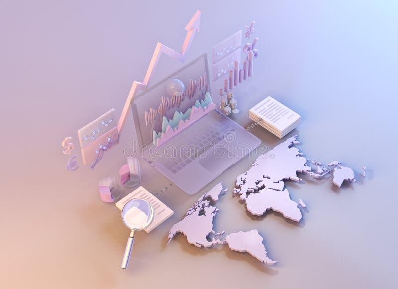 Στοιχεία αγοράς επιχειρησιακών στοιχείων, διαγράμματα, γραφικές παραστάσεις, διαγράμματα με τον παγκόσμιο χάρτη διανυσματική απεικόνιση