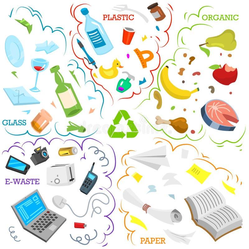 Στοιχεία απορριμάτων ανακύκλωσης Ταξινομώντας και χρησιμοποιήστε τα απόβλητα τροφίμων, μέταλλο, έγγραφο, πλαστικό, μπαταρία, γυαλ διανυσματική απεικόνιση