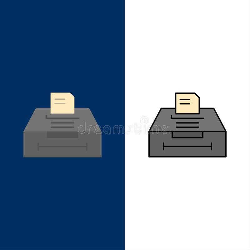 Στοιχεία, αρχείο, επιχείρηση, εικονίδια πληροφοριών Επίπεδος και γραμμή γέμισε το καθορισμένο διανυσματικό μπλε υπόβαθρο εικονιδί ελεύθερη απεικόνιση δικαιώματος