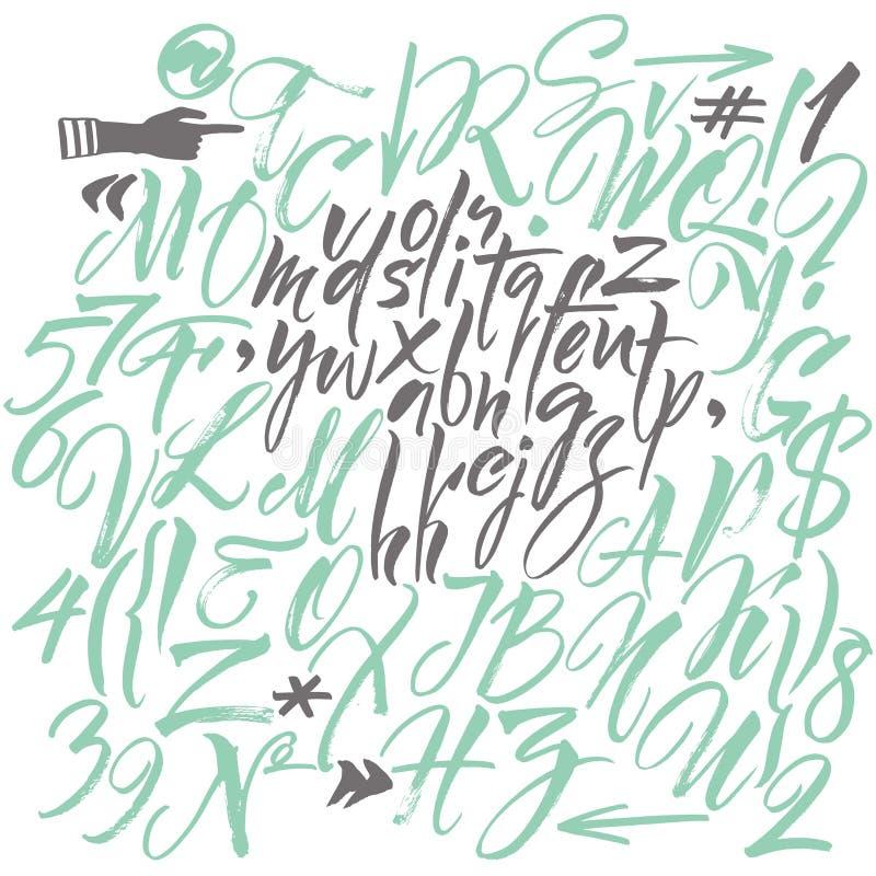 στοιχεία αλφάβητου που το διάνυσμα συρμένες επιστολές χερ&iota διανυσματική απεικόνιση