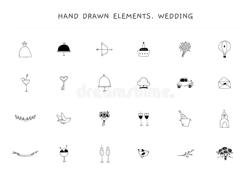 Στοιχεία γαμήλιων λογότυπων καθορισμένα Διανυσματικά συρμένα χέρι αντικείμενα διανυσματική απεικόνιση