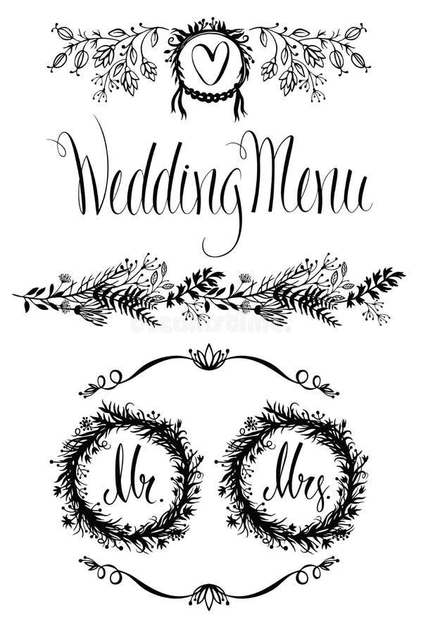 Στοιχεία γαμήλιου σχεδίου καθορισμένα, floral πλαίσιο και σύντομο χρονογράφημα ελεύθερη απεικόνιση δικαιώματος