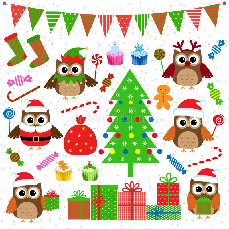 Στοιχεία γιορτής Χριστουγέννων ελεύθερη απεικόνιση δικαιώματος