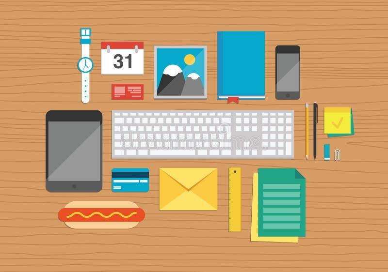 Στοιχεία γραφείων στην απεικόνιση υπολογιστών γραφείου ελεύθερη απεικόνιση δικαιώματος