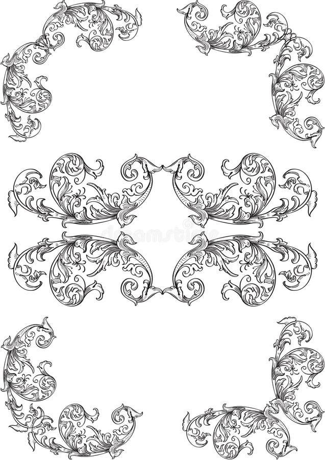 Στοιχεία γωνιών στροβίλου διανυσματική απεικόνιση
