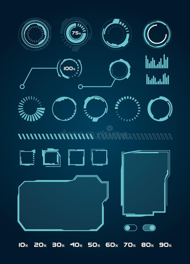 Στοιχεία διεπαφών HUD καθορισμένα, κύκλοι, φόρτωση, πλαίσια για τις εφαρμογές Ιστού, φουτουριστικό UI - απεικόνιση Vecto απεικόνιση αποθεμάτων