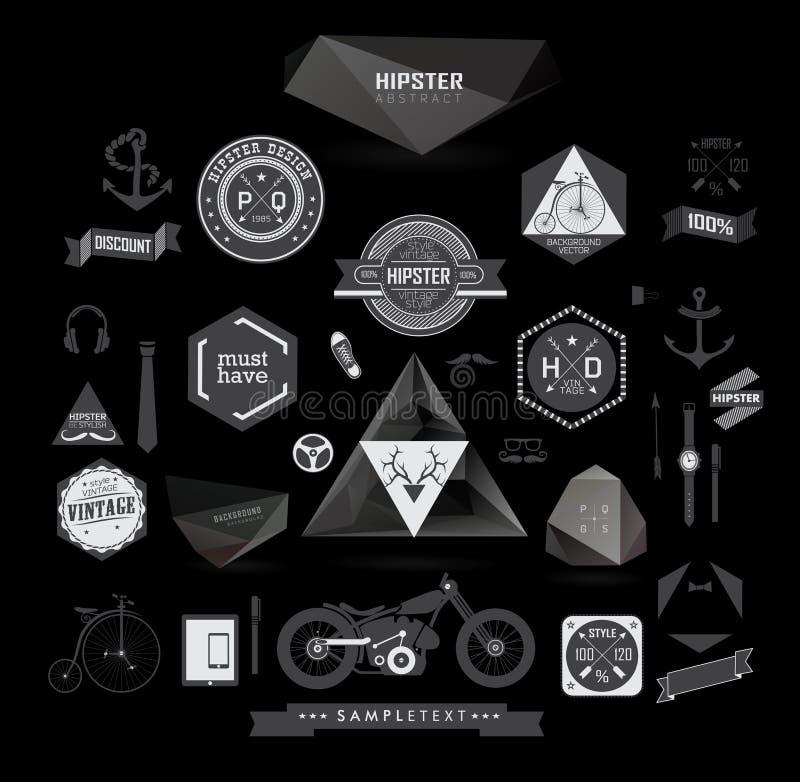Στοιχεία, εικονίδια και ετικέτες ύφους Hipster διανυσματική απεικόνιση